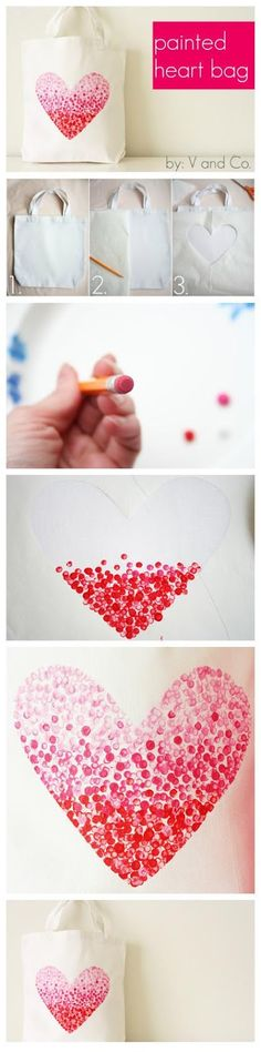 "DIY Valentine Heart Bag... the kids would have so much fun doing this on pillowcases and t-shirts! Although, we'd use a different ""shape"" :)"