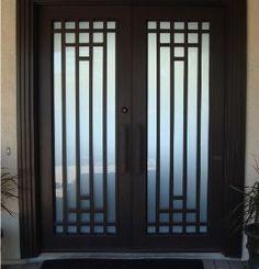 View these front door design photos at Modern Steel Doors! Iron Window Grill, Window Grill Design Modern, Grill Door Design, Front Door Design, Window Design, Contemporary Doors, Modern Door, Wrought Iron Doors, Metal Doors