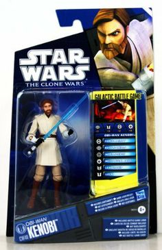 Star Wars 2011 Clone Wars Animated Action Figure CW No. 40 ObiWan Kenobi by Hasbro Toys. $0.99. Figure comes with lightsaber weapon, Galactic Battle Game card, battle base and game die.. CW 40 26372 Obi-Wan Kenobi. Obi-Wan battles the enemies of the Republic as war expands across the galaxy. The Jedi General continues his hunt for General Grievous and leads diplomatic missions to far-flung worlds. Whether he is battling droids or negotiating with potential allies...