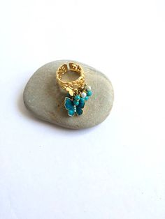 Gold colour butterfly beaded ring Spring ring Summer ring