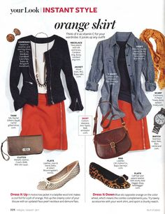 Our American Heritage Leather Legacy Bag paired with a fabulous orange skirt in InStyle
