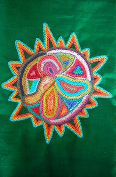 Huichol Sun CHAIN STITCH EMBROIDERY   Flickr - Photo Sharing!