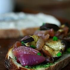 Roasted Eggplant Sandwiches With White Bean Spread And Chive Pesto