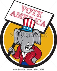 Illustration of an American Republican elephant mascot wearing suit and stars and stripes hat holding placard sign with the words Vote America set inside circle done in cartoon style. #VoteAmerica #cartoon #illustration