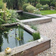 Gestaffelter Naturpool: Minimalistisch Garten von qbus architektur  &…