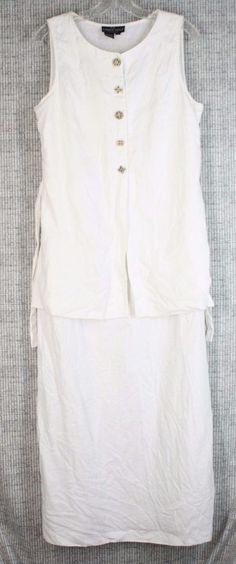 Vintage Carole Little 100% Linen Flax Faux 2 Piece Long Dress Carved Buttons 10 #CaroleLittle #Maxi