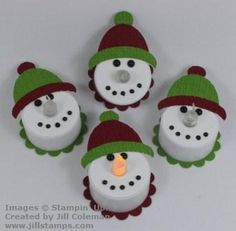 Adorable tea light snowmen! Jill used her scrapbook punches to adorn them. We will have to use scissors. Thanks, Jill, for your photos and instructions. - In Him was life, and that life was the Light of all mankind. - John 1:4
