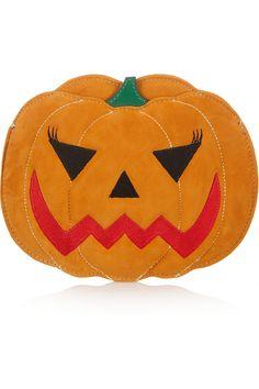 Charlotte Olympia|Boo! Pumpkin suede clutch|NET-A-PORTER.COM