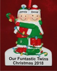 Holiday Lights Our Twins | Hand Personalized Christmas Ornaments by Russell Rhodes Last Christmas, Christmas Gifts, Holiday Lights, Holiday Decor, Sticker Removal, Lights Fantastic, Baby Ornaments, Precious Children, Personalized Christmas Ornaments