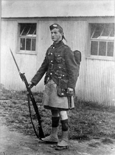 Weapons of War - Rifles - Cameronians (Scottish Rifles) WWI  Notice the fact that this Cameronian is wearing a Kilt. Being a lowland regiment, they normally wore threws in the tartan of Douglas'.
