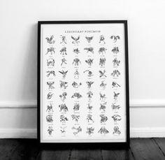 Legendary pokemon poster. Silver foil Pokemon poster. por Byoliart