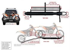 Zero-Wobble attachment to hitch ?Loading ramp is included - Advanced formed tube and wire construction makes it light but extremely strong. Loading Ramp Included: Yes. Hitch Type: Class III or better 2 inch square. Bike Carrier Rack, Motorcycle Carrier, Motorcycle Camping, Motorcycle Towing, Vw Bus, Motorhome, Hitch Rack, Dirt Bikes, Expedition Trailer