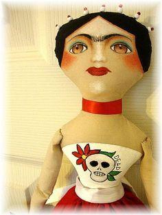 Art: FRIDA DAY OF THE DEAD by Artist Cyra R. Cancel. Art doll. Frida kahlo