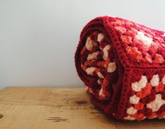 Vintage #Afghan #Blanket - Retro #Granny #Crochet #Throw Red, Pink, Peach