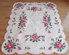 88in x 74in. Wow!!! Vintage American Beauty Rose Applique Quilt THE BEST Mother's Choice MINT