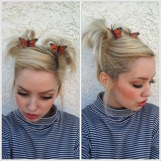 love this idea of putting monarch butterfly clips! #pigtails