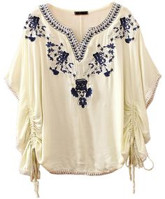 Beige Batwing Sleeve Embroidery Drawstring Blouse - Sheinside.com