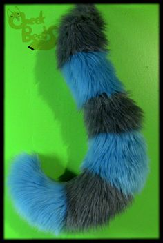 Curled Turquoise Blue and Gray Tim Burton Cheshire Cat Tail for Cosplay, Costume on Etsy, $45.00