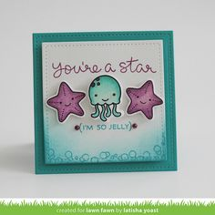 Lawn Fawn - So Jelly, Stitched Square Stackables _ card by Latisha for Lawn Fawn Design Team