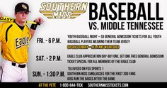 Southern Miss Baseball Returns to The Pete to play MTSU this Weekend. For more information go to SouthernMiss.com