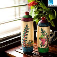 ExclusiveLane Madhubani Handpainted Bottle Shape Terracotta Vase Set