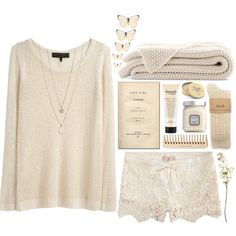 A fashion look from August 2013 featuring long sleeve sweaters, lace shorts and cable socks. Browse and shop related looks.