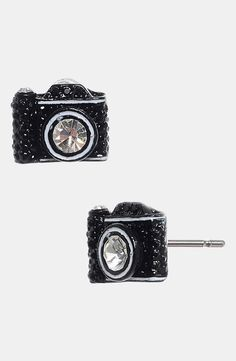 Smile! Cute camera stud earrings.