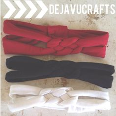 3 Turban Headbands Red Black White baby & adult by dejavucrafts