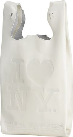 "Plastic shopping bag graphics in fine leather handbags. License deal, ""I Heart NY"""