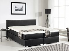 Box spring bed - 180x200 cm - PU leather - King Size - PRESIDENT black
