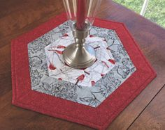 Winter Red and White Cardinal Quilted Hexagon Table Topper, Candle Mat, Table Runner - reversible