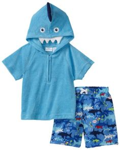 Kids Headquarters Baby-Boys Infant Swim Short and Top with Hood