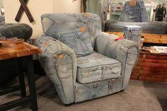 Very unique denim chair. Love it or Leave it? #LVMKT | Houston, TX | Gallery Furniture |