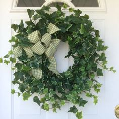 Spring Wreath-St. Patricks Day Wreath-Hydrangea Wreath-Ivy Wreath-Wreath-Spring Door Wreath-Greenery Wreath-Rustic Wreath-All Season Wreath  Celebrate spring with this amazingly full and realistic mixed ivy wreath. Deep green English ivy and variegated ivy are interwoven to create a lush and beautiful design. A classic sage and cream houndstooth bow adds the perfect finishing touch. Perfect for Spring, St. Patricks Day or year round enjoyment.  Approximate measurements: 24 H x 24 W x 6 D…