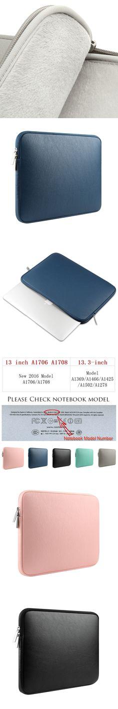 Laptop Bag 13.3 Inch For MacBook Pro 13 2016 Case,PU Leather Notebook Sleeve Case 13 For Apple MacBook Pro 13 Case A1706 / A1708