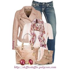 """""""MK Bag, Floral Scarf & Pale Pink Leather"""" by steffiestaffie on Polyvore"""