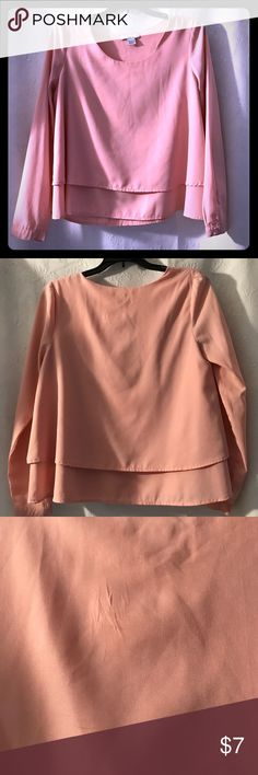 Bar III long sleeve flowy top Bar III pink double-layer flowy top. Round neck, long sleeves with button cuffs. Small flaw in material at back, almost unnoticeable, see photo. Bar III Tops Blouses