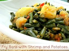 Fry Bora with Shrimp and Potatoes - In my home, there were weekday meals and weekend meals. My mother used to cook lots of vegetables during the work. Barbados, Guyana Food, Guyanese Recipes, Trinidadian Recipes, Jamaican Recipes, Trini Food, Caribbean Recipes, Caribbean Food, Cooking Recipes