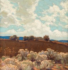 "thunderstruck9:  "" Ernest Martin Hennings (American, 1886-1956), Landscape, Taos, c.1920. Oil on board, 14 x 14 in.  """
