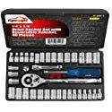 40 Pieces - EPAuto & Drive Socket Set with Reversible Ratchet Socket Set, Ratchet, Auction, Car, Automobile, Autos, Cars