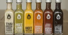 Play with Fire Hot Sauces - global flavours tied together with a uniform (& minimal) brand Food Packaging Design, Packaging Design Inspiration, Brand Packaging, Packaging Ideas, Coffee Packaging, Pretty Packaging, Hot Sauce Recipes, Diy Food Gifts, Salsa Picante