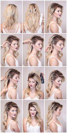 eine Anleitung für Dirndl Frisur wie mit Haarsprays und Flechten, das Haar zu formen