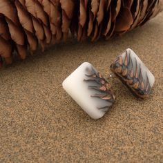 White Ecoresin and pinecone stud earrings - Hidden Garden jewelry - 4 More