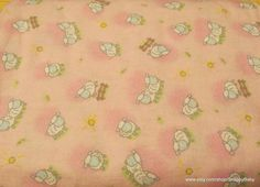 Flannel Fabric  Lambs on Pink  1 yard  100% Cotton by SnappyBaby