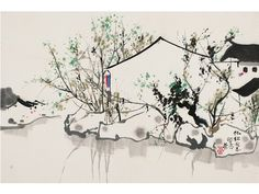 Sumi E Painting, Chinese Painting, Chinese Art, Chinese Contemporary Art, Modern Art, Wu Guanzhong, Conceptual Painting, Lotus, Chinese Architecture