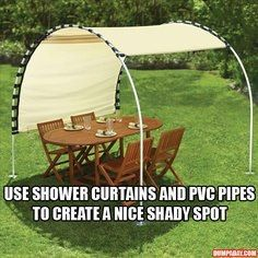 How To: Create an easy to make and inexpensive way to make shade for that outdoor patio set, a bench, etc.  Get 1-2 shower curtains (Black or Brown Nylon webbing to attached to both sides of shower curtain and make straps to attach to pvc pipes), PVC pipes cut to the size for shade needed, spray paint  pvc with to match whatever color shower curtain for shade and stick into the ground, you have portable shade you can move anywhere you have lawn.