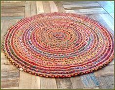 Colorful Round Jute Rug Recycled Rugs Unique Bedroom Furniture Decor