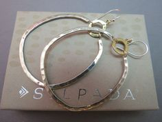 Silpada Sterling Silver Earrings Dynamic Duo Two Tone Brass Large Hoop W3148…