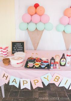 Ice Cream Themed Birthday Party: DIY Decor Ideas - the thinking closet - - DIY party ideas from an Ice Cream Themed Birthday Party you can pull of at the last minute: ballon backdrop, lawn decor, favors, & letter board quotes! Girl Birthday Themes, 4th Birthday Parties, Birthday Celebration, 1st Birthday Party Favors, 2nd Birthday Party For Girl, Cute Birthday Ideas, Happy Birthday, Fourth Birthday, Birthday Images
