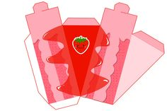 Strawberry Free Printable Paper Fruit Cakes Box